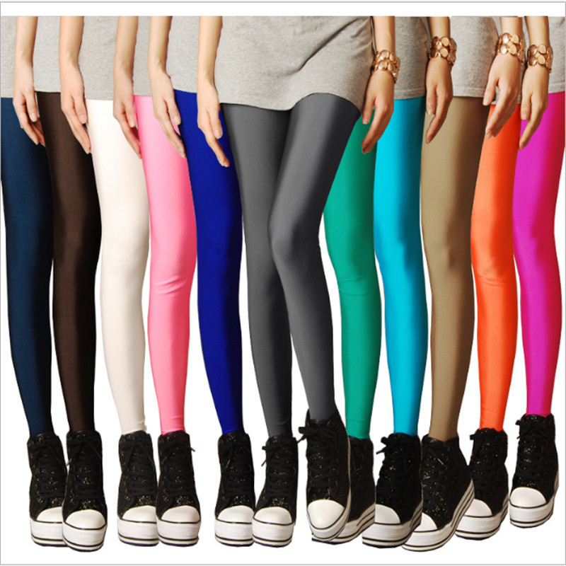 Doprava zdarma Hot prodejní módní přehlídka tenké elastické devět bodů kandysové barvy fluorescenční kalhoty dámské legíny 13 barev