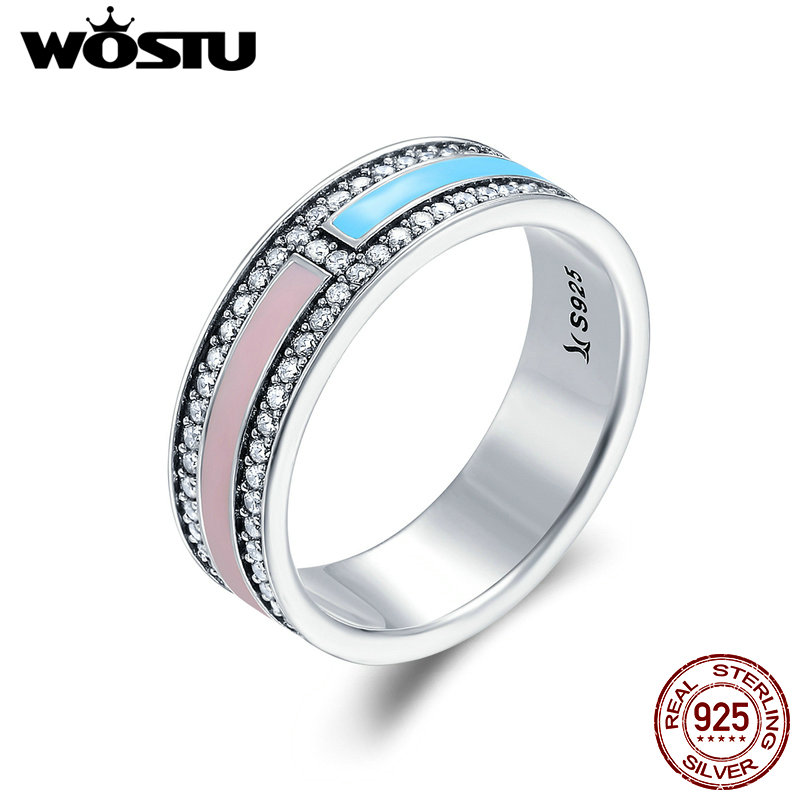 WOSTU Real 925 Sterling Silver Colorful Light Statement Wide Band Rings For Women Fashion Wedding Jewelry Fine Gift CQR158 wostu new arrival real 925 sterling silver luminous glow rings for women authentic fine jewelry gift zbb7640