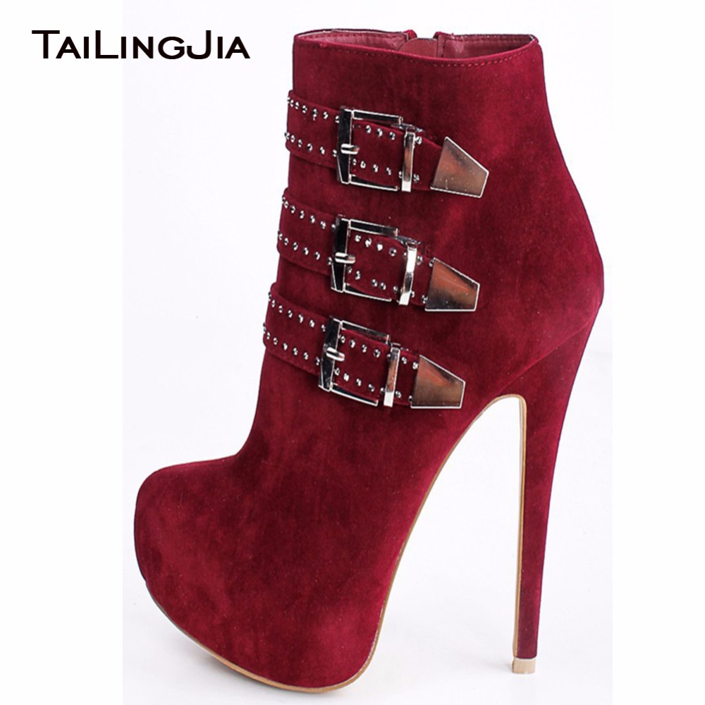Elegance Woman Short Red Platform Sexy Boots Extremely High Heel Boots Thin Heel Black Winter Ladies Ankle Boots With Buckles Wh