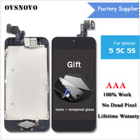 Camera Home Button Black White LCD Touch Screen Digitizer Assembly Display For IPhone 5 5G 5C
