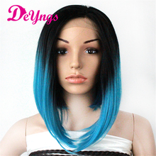 14 Inch Silky Straight Synthetic Lace Front Wig Perruques Synthetic Femme Blue Ombre Wigs Peruca Front Lace Wigs African America