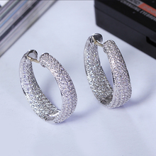 Platinum Plated/Gold Plated Hoop Earrings Paved AAA Austrian Cubic Zirconia for Elegant Women Fashion Jewelry 925 sterling silve
