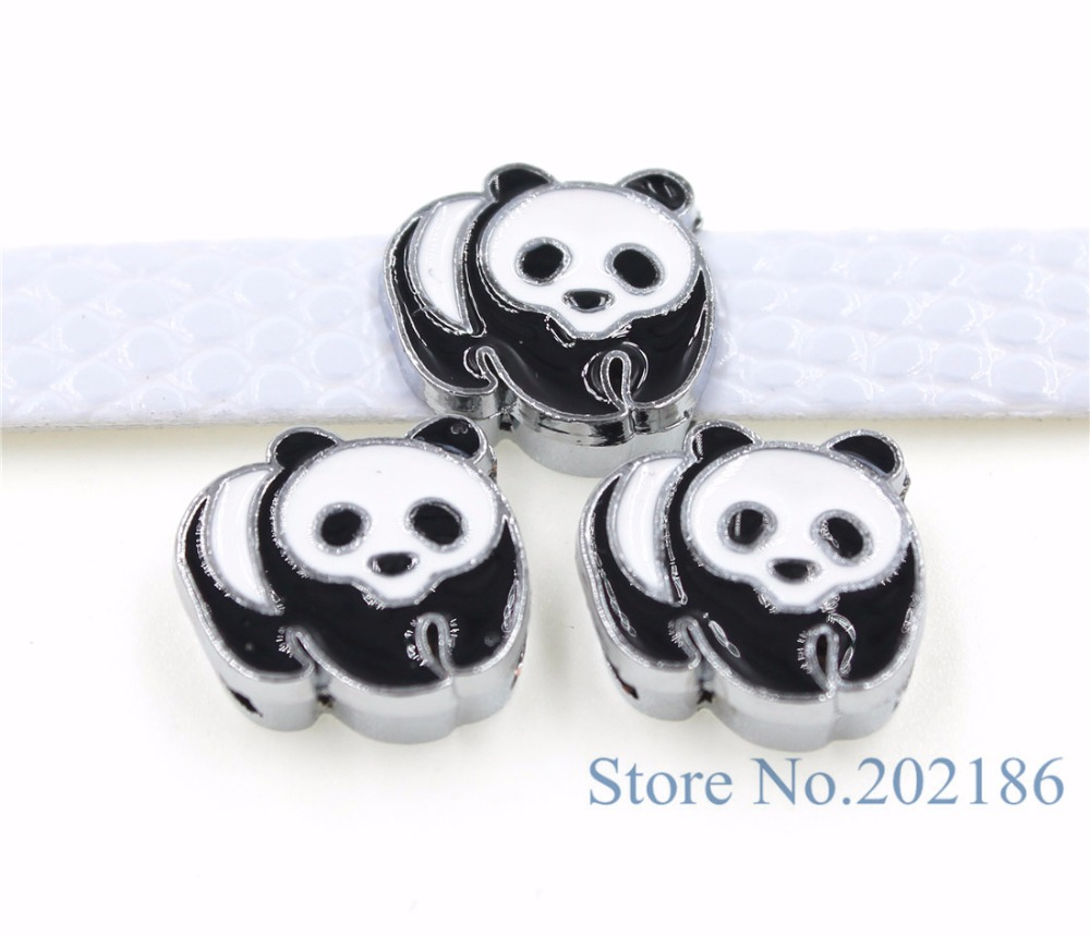 10pcs 8mm Mix Color Lovely Panda Slide Charms Fit Pet Collars Wristbands  Belts Key Chain Diy