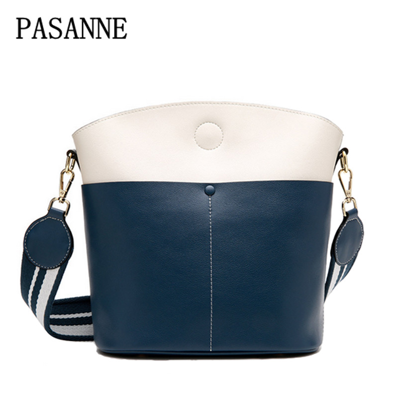 New Woman Crossbody Bag PASANNE 2017 Fashion Leather Girl Handbags Female Genuine Leather Women Handbag Shoulder Bags Bucket Bag куртка мужская geox цвет темно синий m8420nt2414f4386 размер 46