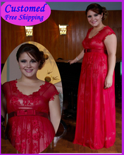 цена на Real Samples Red Lace With Cap Sleeves Mother of the Bride Dresses Chiffon MA-102