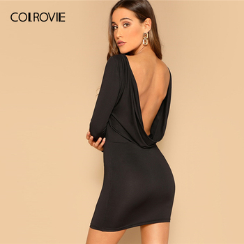 COLROVIE Black Draped Back Bodycon Dress Women 2019 Sexy Backless Summer Party Female Spring Long Sleeve Slim Short Dresses