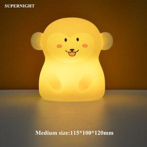 Image 2 - Bär Hund Fuchs Affe LED Nachtlicht Touch Sensor 9 Farben Cartoon Silikon Tier Lampe Nacht Lampe für Kinder Kinder baby Geschenk