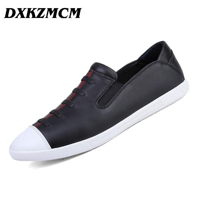 DXKZMCM 38~45 PU leather men shoes 2017 fashion comfortable men casual shoes
