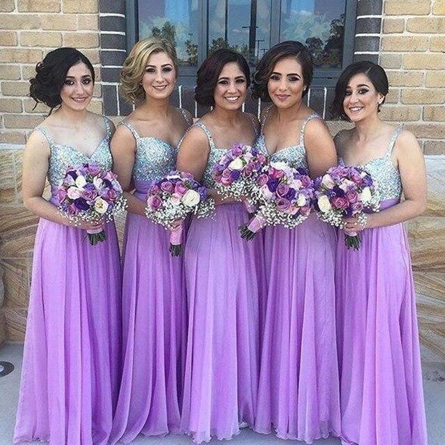 44fd37b4f0b Elegant Lavender Bridesmaid Dress Cheap Beaded Sequin Crystal Spaghetti Chiffon  Long Bridesmaid Dresses 2019 Wedding Party Gowns