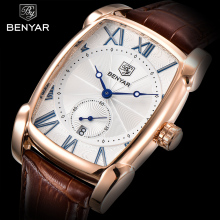 Business Men Watch Waterproof Leather Rectangle Quartz Wristwatch Male Clock Relogio Masculino BENYAR Brand