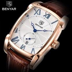 Business Men Watch Men Waterproof Leather Rectangle Quartz Wristwatch Male Clock Relogio Masculino BENYAR Brand