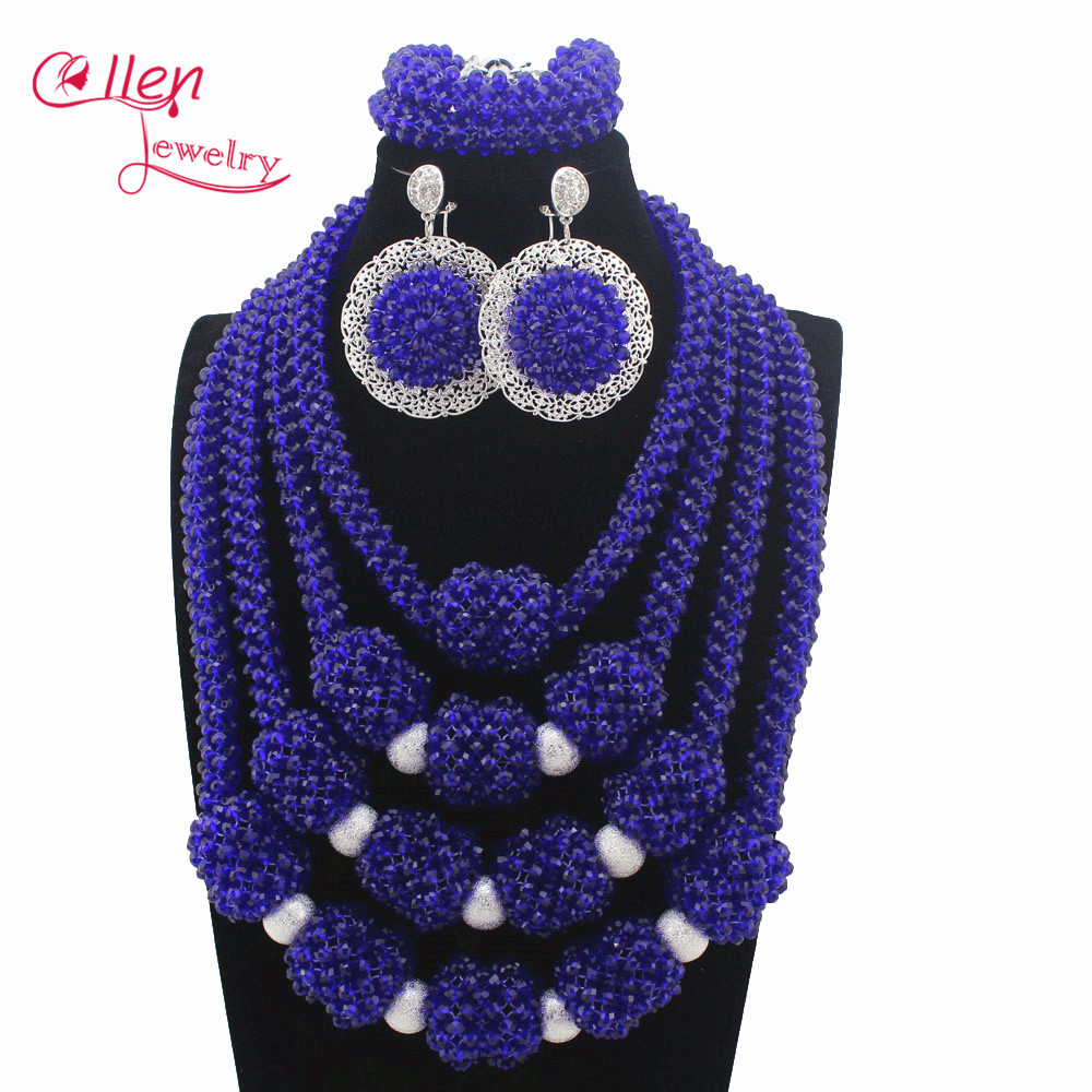 New Handmade Royal Blue Wedding African Bold Beads Jewelry Set Nigerian Bridal Costume Necklace Set Gift Free Shipping W13516 classic royal blue african costume beaded jewelry set handmade 3 layers nigerian beads wedding jewellry set free shipping 10057
