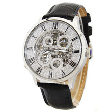 MATISSE Lady Full Crystal Dial Leather Strap Automatic Mechanical Watch Wristwatch