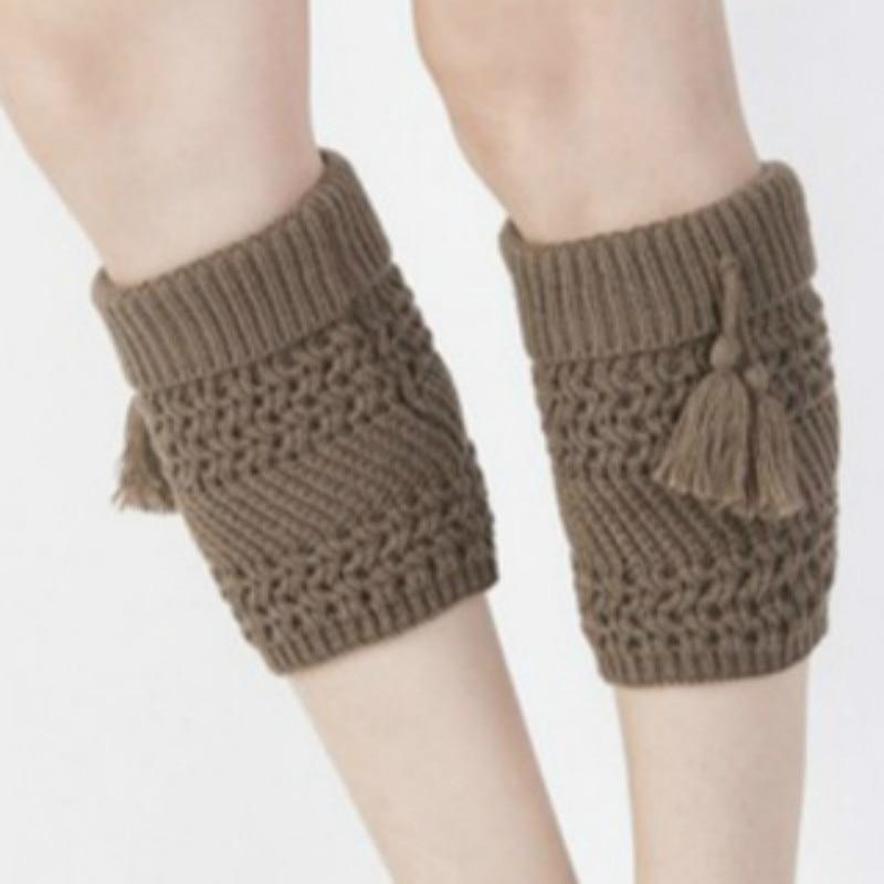 Autumn Winter Ladies Knitted Turn-down Tassel Pendant Stretch Boot Cuffs Womens Short Leg Warmers Foot Cover Socks 2017 New