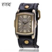 CCQ Rétro En Cuir de Vache Bracelet Montre Hommes Vintage Casual Sport Quartz Montre Homme Montre-Bracelet Relogio Masculino Horloge Heures C22