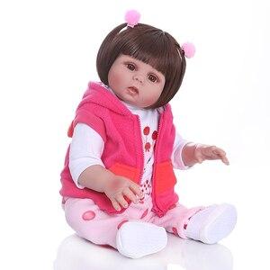 Image 2 - New Full body soft silcone waterproof 48CM newborn bebe doll reborn doll baby girl in pink dress realistic baby Bath toy