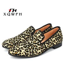 купить New Fashion Men Leopard Cotton Fabric Shoes Men's Loafers Casual Shoes Men Flats Smoking Slippers по цене 2606.55 рублей