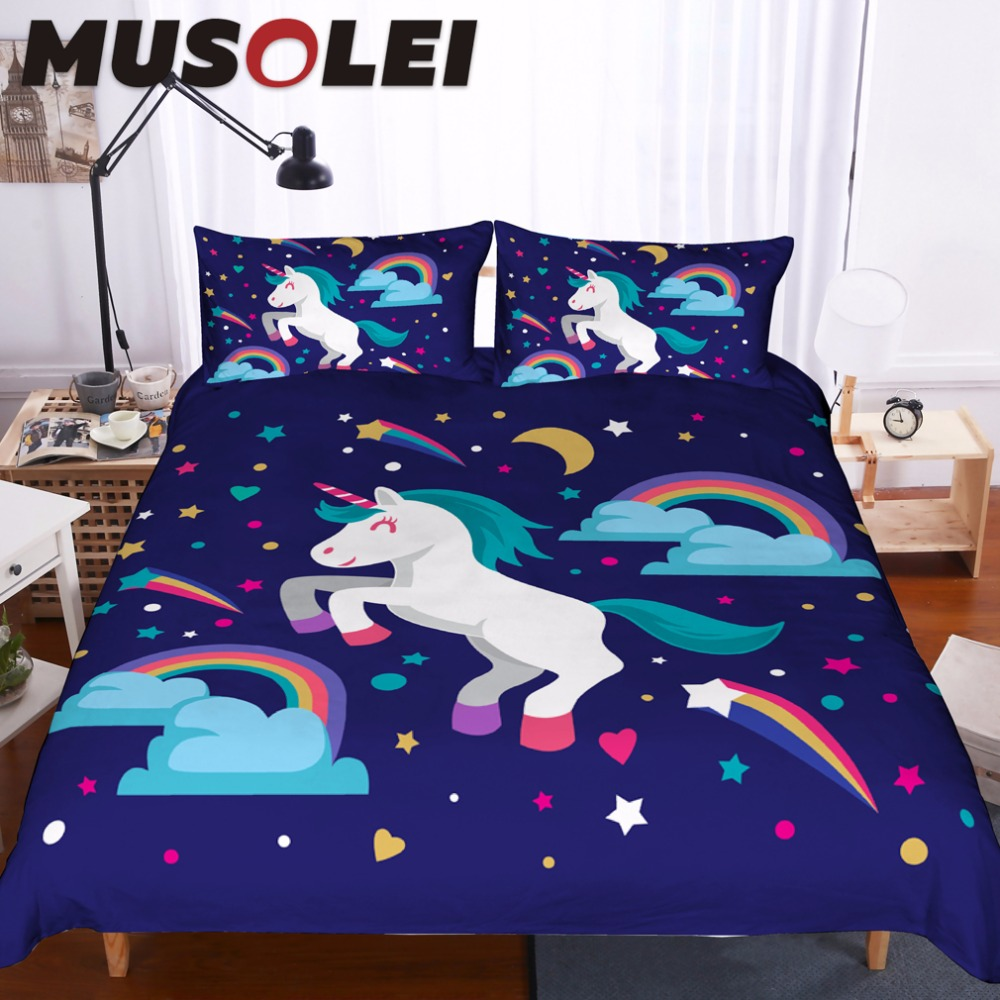 Hospitable New Pink Cartoon Unicorn Cute Bedding Set With Duvet Cover And Pillowcases Hot Sale 50-70% OFF Home & Garden