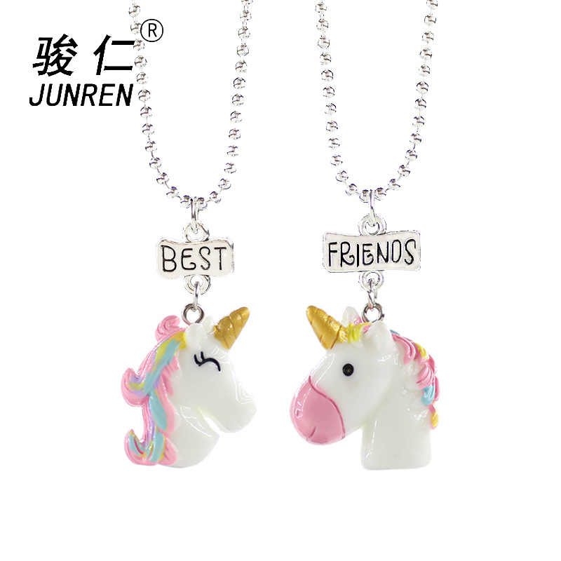 NEW Design 2Pcs/Set Unicorn Pendant Necklaces For Children Boys and girls Best Friends Friendship Necklace Chain Jewelry