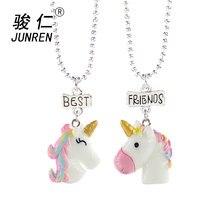 e02c4a92a893 Nuevo diseño 2 unids set unicornio colgante collares para niños y niñas mejores  amigos amistad collar cadena joyería