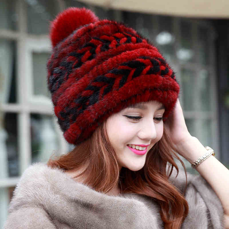 Real mink fur knitted hats for winter autumn girls fur cap with fox fur pom pom top high quality female knitted beanies hat embroidered tape and pom pom trim halter top