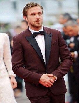Maroon Tuxedo Jacket Dark Tuxedo Jacket Wedding Suits For Men Custom Made Maroon Prom Dress Mens Suit Clothing(Jacket+Pants+Tie)