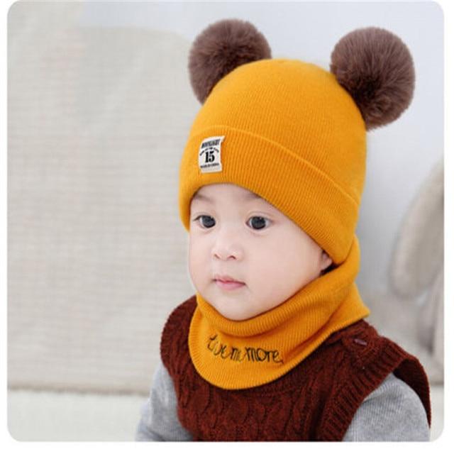 d3208f7d9 US $4.04 25% OFF|CANIS 2018 Bebe Kids Newborn Baby Boy Girl Hat Winter Warm  Double Fur Pom Bobble Knit Beanie Hat Cap Hats Maps Baby Hat-in Hats & ...