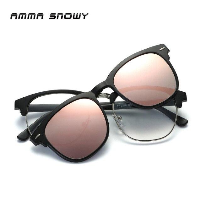 AMMA SNOWY New Myopia Polarized Sunglasses Women Alloy Square ...