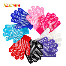 Nasinaya Figure Skating Gloves For Kids Girl Adult Magic Knitted Mittens Elastics Warm Fleece Ice Skating Snow Protect Hands 2(China)