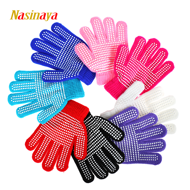 Nasinaya Figure Skating Gloves For Kids Girl Adult Magic Knitted Mittens Elastics Warm Fleece Ice Skating Snow Protect Hands 2 elastics and elastomerics