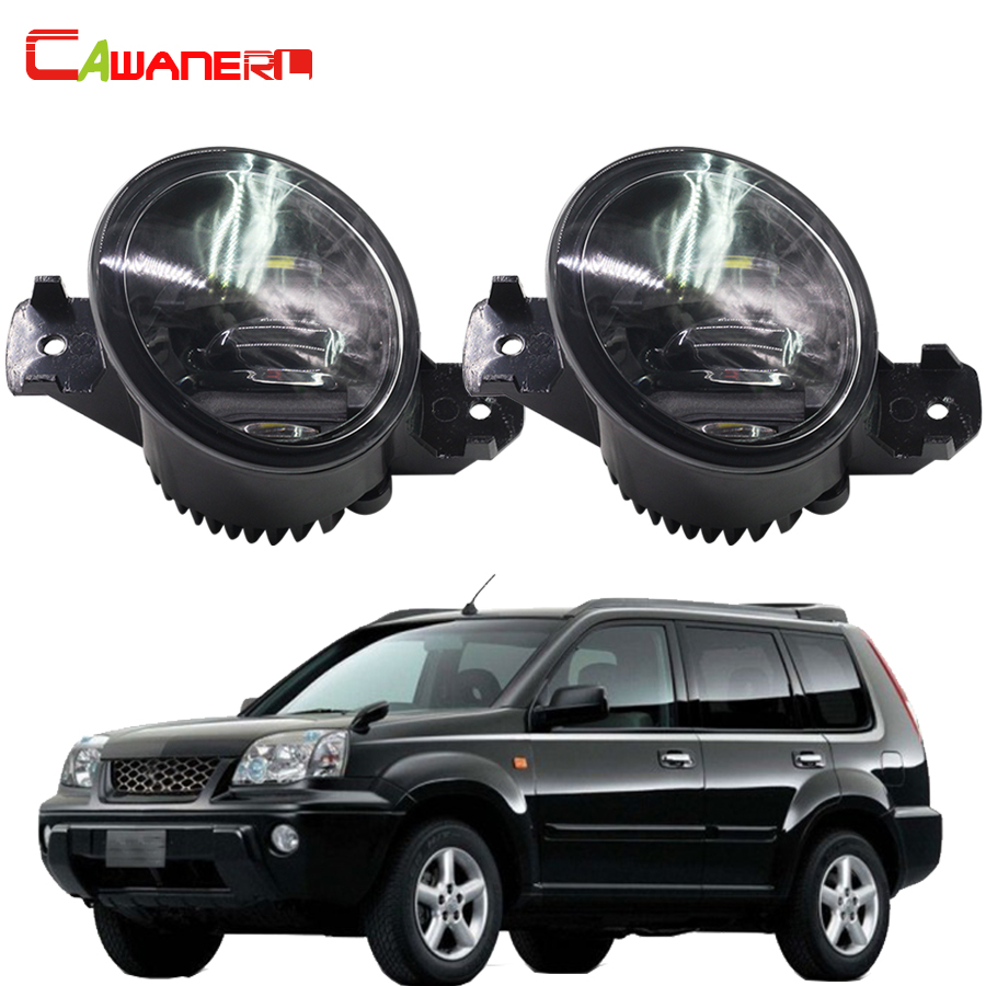 Cawanerl 2 X Car Styling Right + Left Fog Light LED DRL Daytime Running Lamp 12V White For 2001-2006 Nissan X-Trail T30 cawanerl for toyota highlander 2008 2012 car styling left right fog light led drl daytime running lamp white 12v 2 pieces
