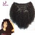 Para las mujeres negras afro kinky rizado clip en extensiones de cabello 100% sin procesar virginal brasileño clip en extensiones de cabello humano 7 unids