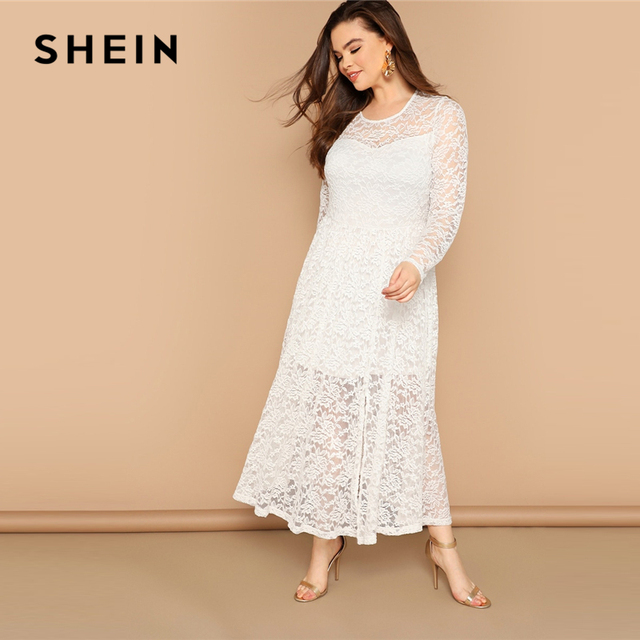 d05d199a6f SHEIN White Floral Lace 2 In 1 Long Split Sheer Dress Women 2019 Spring  Round Neck Long Sleeve Fit And Flare Casual Dresses