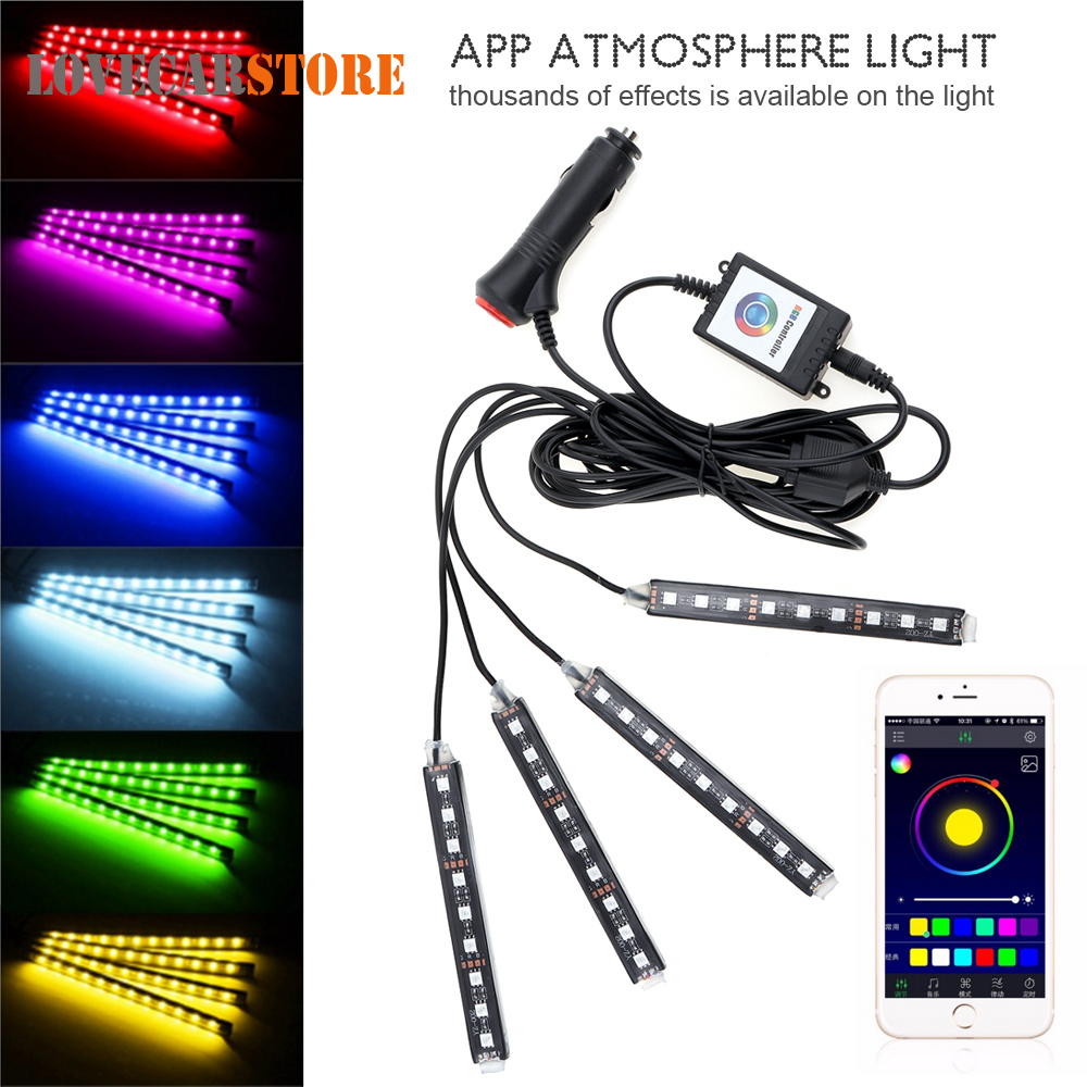 4pcs Bluetooth Android IOS Phone Control Auto Car Interior RGB Strip Light Flexible Atmosphere Decoration Kit Foot Lamp