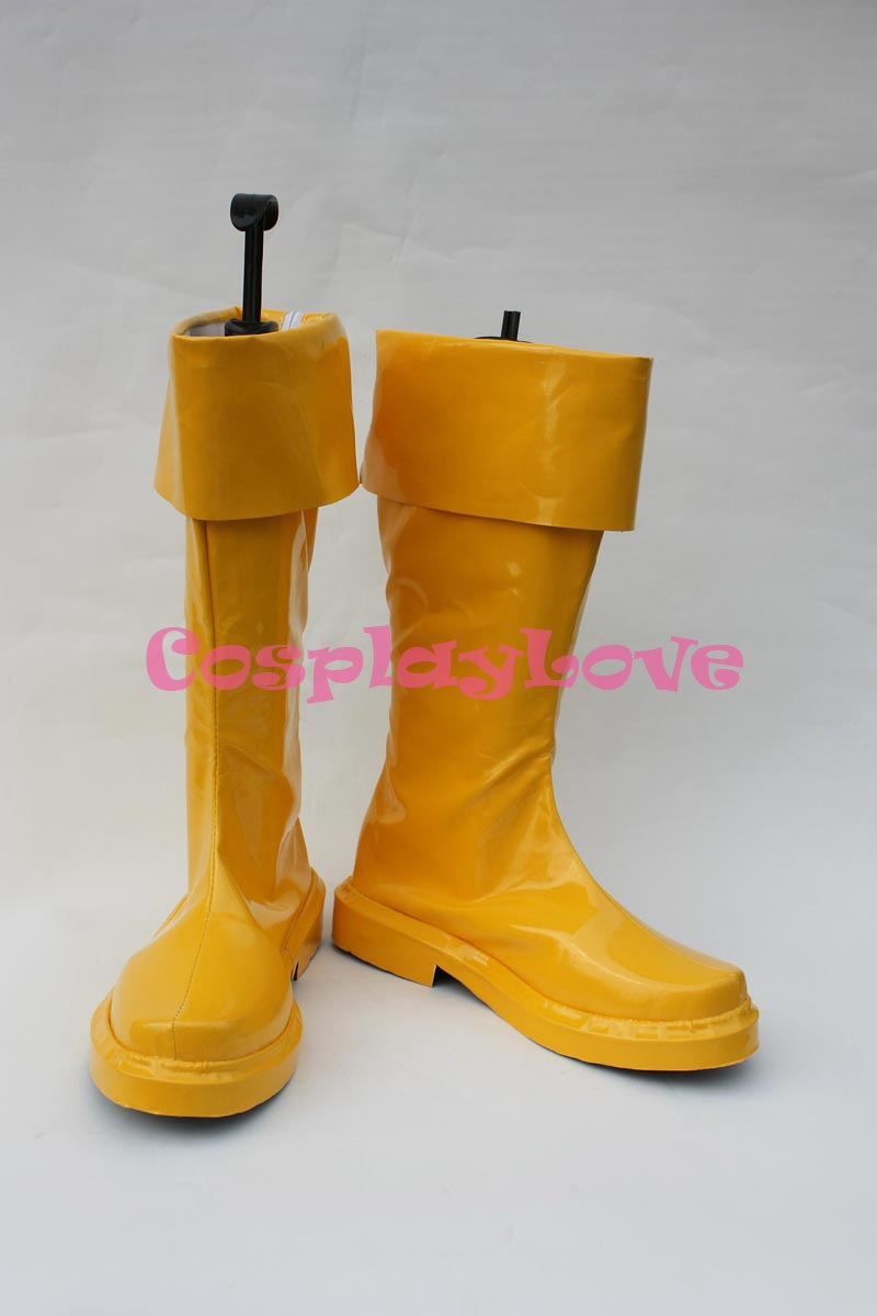 Newest Custom Made Movie Yellow Captain Marvel Shazam Cosplay Shoes Long Boots For Halloween