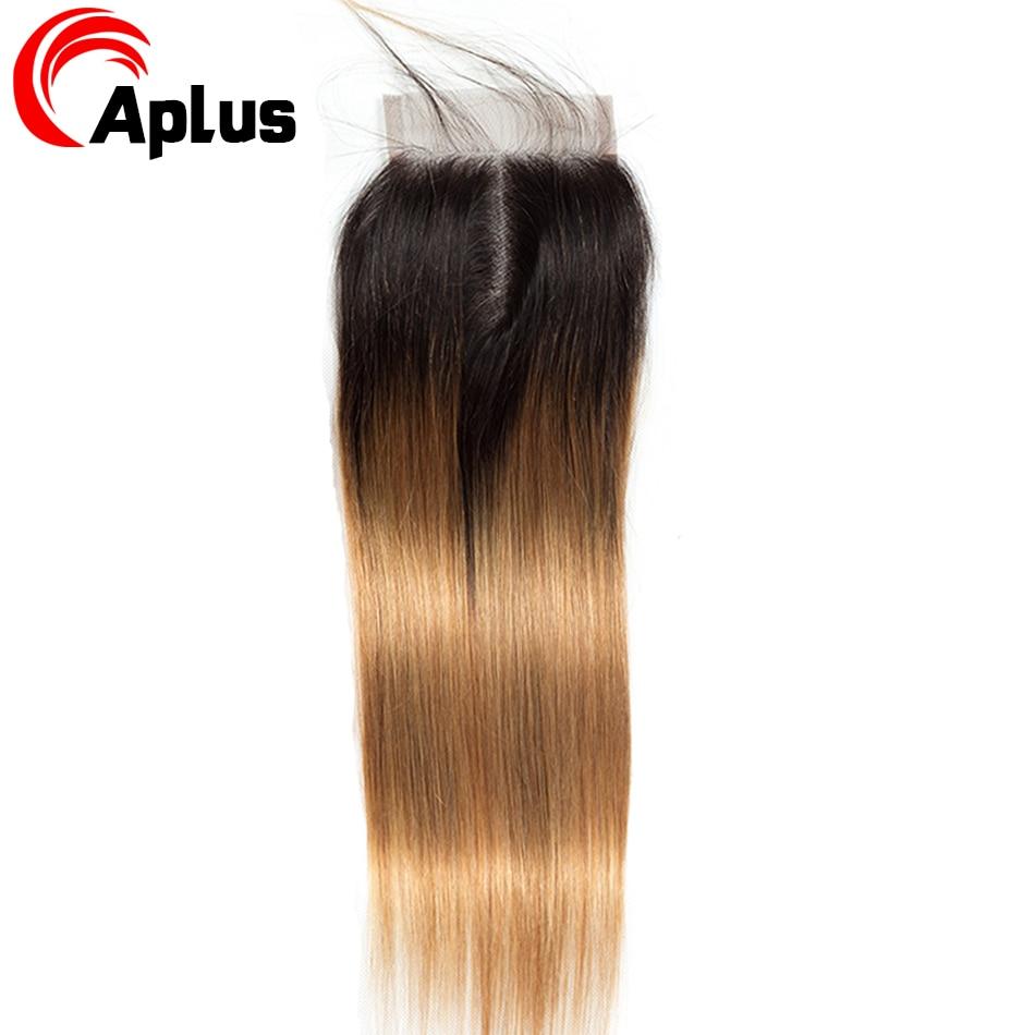 HTB1DM1KKr1YBuNjSszeq6yblFXas Aplus Hair Peruvian Ombre Bundles With Closure Straight 1B/27 Honey Blonde Bundles With Closure NonRemy Human Hair Weave Closure