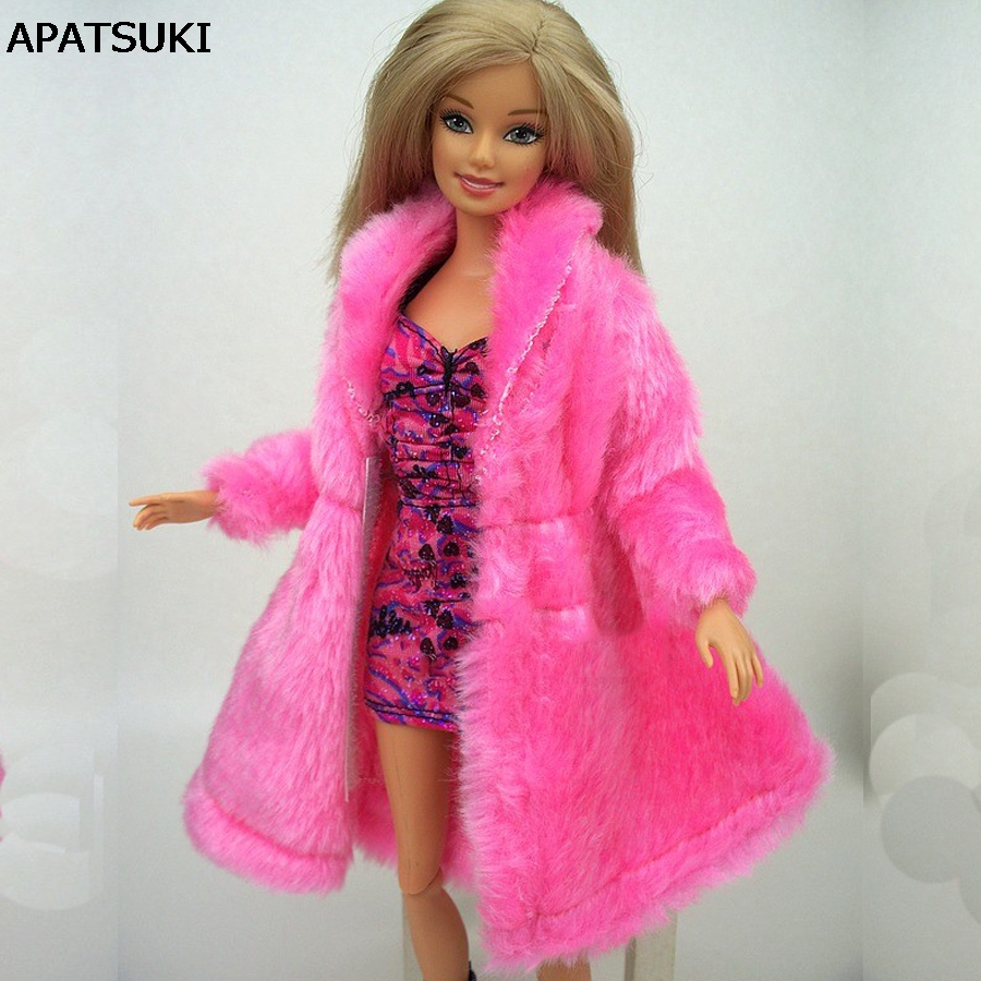 Kids Playhouse Toy Doll Tilbehør Winter Warm Wear Pink Fur Coat Klær For Barbie Dolls Fur Doll Clothing For 1/6 BJD Doll