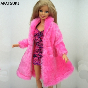 Kids Playhouse Toy Doll Accessories Winter Warm Wear Pink Fur Coat Clothes For Barbie Dolls Fur Doll Clothing For 1/6 BJD Doll