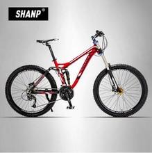 LAUXJACK Mountain Bike Full Suspension Aluminum Frame 24/27 Speed Hydraulic/Mechanic Brake 26″ Wheel