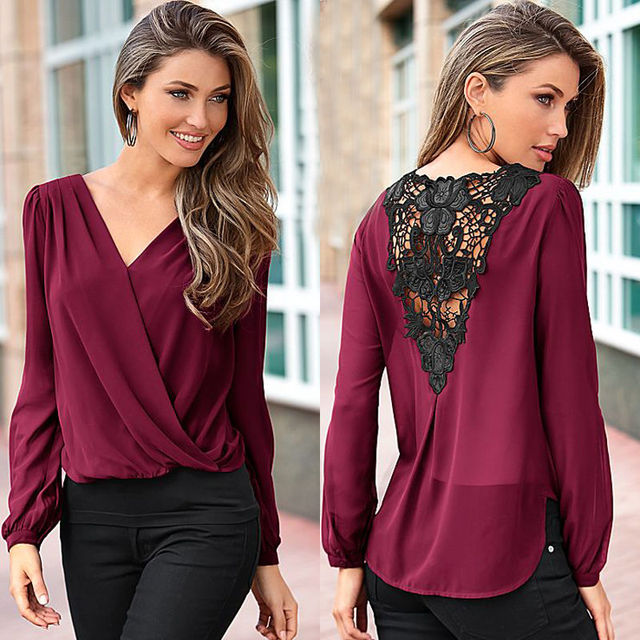 65796a118acd7e Sexy Women Ladies Casual V neck Chiffon Blouse Tops Long Sleeve Back Lace Shirt  Loose Blouses Fashion Blouse Black Wine Red-in Blouses   Shirts from Women s  ...