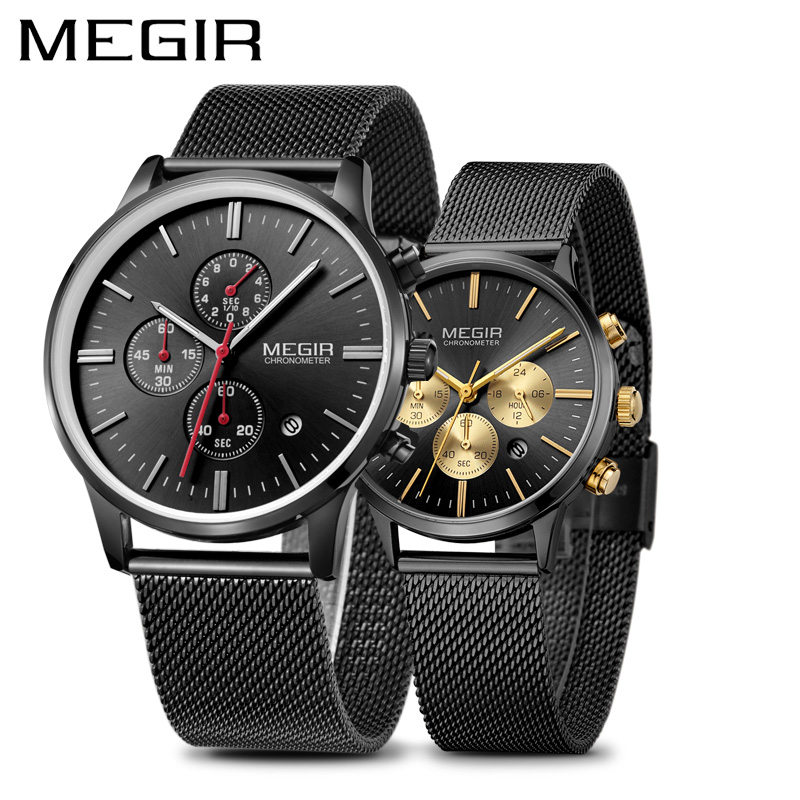 MEGIR Luxury Men s Watches Erkek Kol Saati Fashion Brand Chronograph Quartz Wrist Watch for Lovers