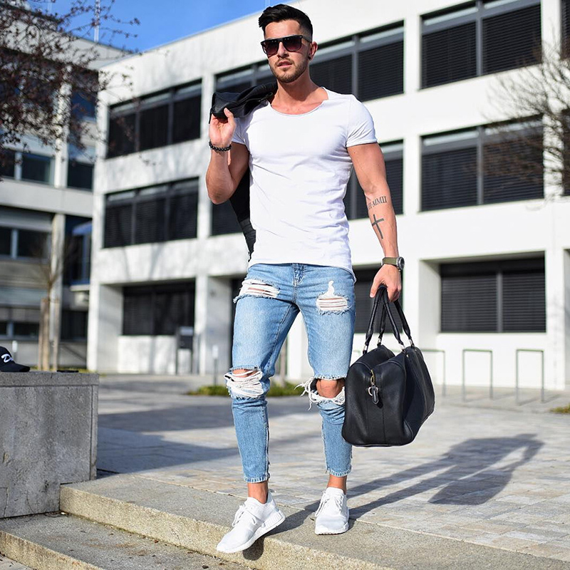 Fashion Plus Size Men's   Jeans   Stretch Destroyed Ripped Design Fashion Ankle Zipper Skinny   Jeans   For Men