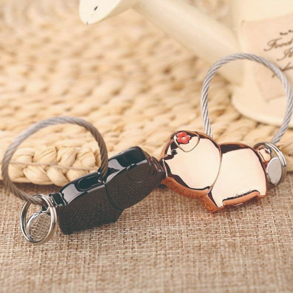 Trendy Sweet Kiss Piggies Keychain with Magnetism Cute Kiss Pigs Couple Keychain Christmas Gifts Valentine's Love Token #290374(China)