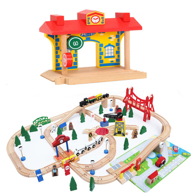 Clock Station Universal Wooden Train Track Accessories DIY Educational Toys For Children