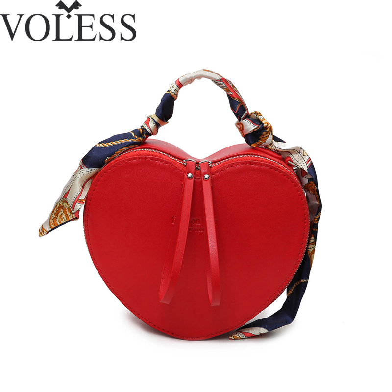 2017 New Arrival Peach Heart Women Handbag Fashion Scarves Pu Leather Messenger BagCrossbody Bags For Women Ladies Tote Bag
