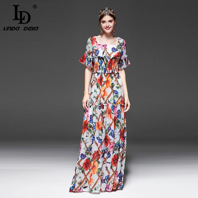 Half Sleeve Floral Print Casual Elegant Long Dress
