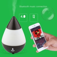 Waterdrop Shape USB Charge Ultrasonic Air Purifier Aroma Diffuser Mist Humidifier Bluetooth Speaker 16 Color LED