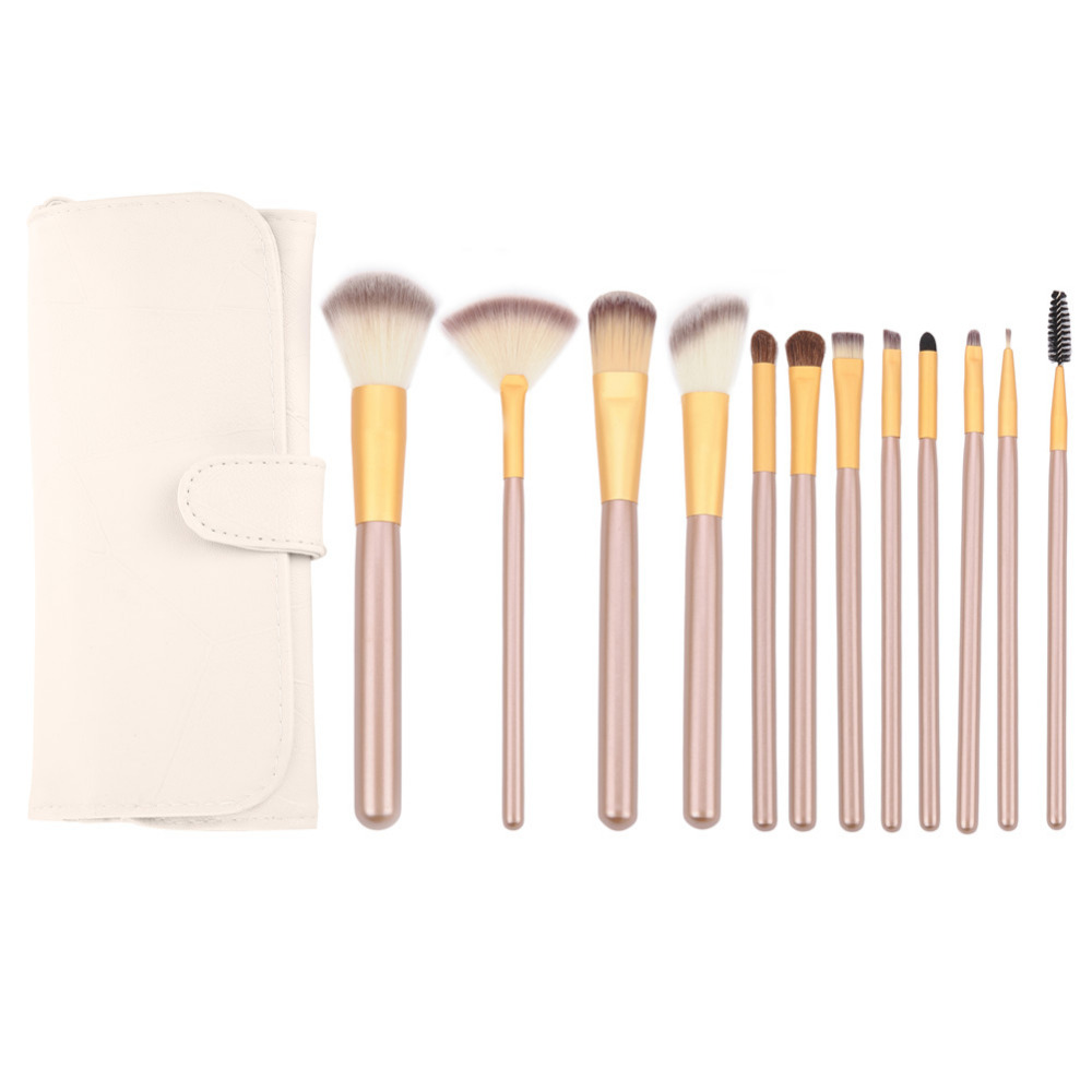 12Pcs Makeup Brush Kits Professional Synthetic Cosmetic Makeup Brush Foundation Eyeshadow Eyeliner Brush Kits with Leather Bag professional eyeshadow brush makeup kit designer cosmetic eye makeup tools with luxury case synthetic