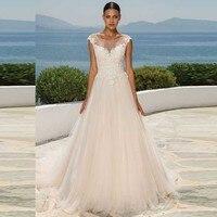 Sheer Scoop Neck A Line Wedding Dress +Veil Cap Sleeve Court Train Bridal Gowns Lace Appliques wedding reception dress