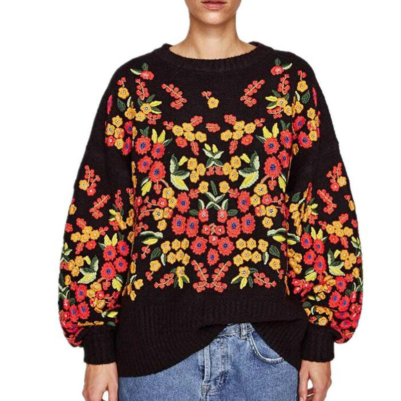 Long Sleeve Trui Knitted Woollen O Neck Soft Sweaters Jersey 2018 Christmas Embroidery Flowers Loose Korea Sweater Robe Pull